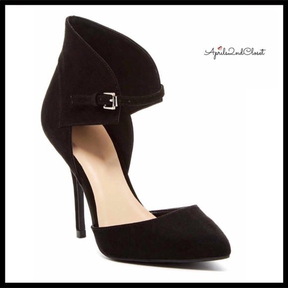 87aca2a54030 D ORSAY BLACK FAUX SUEDE ANKLE STRAP HIGH HEELS